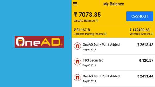 OneAD App, Best Money Earning App in India, Refer and Earn App