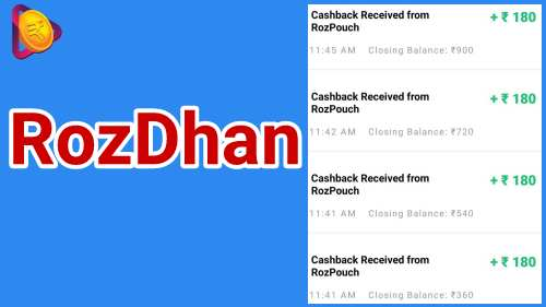 Rozdhan app refer and earn, free Paytm cash earn app