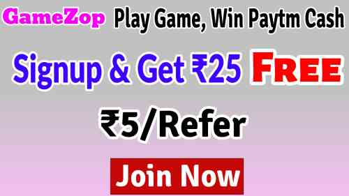 Get Rs.25 Free On Signup, Rs.5/Refer, Play Game, Earn Paytm Cash