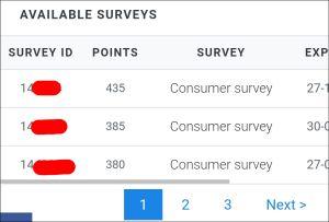 Panel Station : available surveys