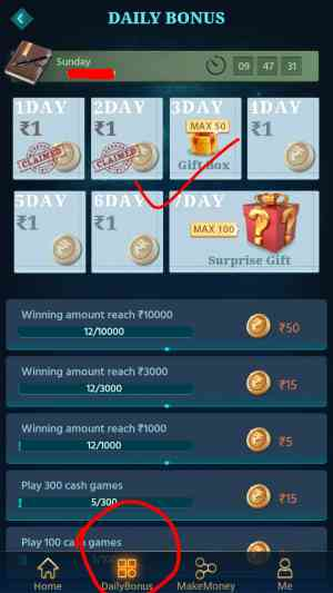 Daily Check in and collect money, refer earn app